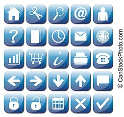 25 Blue Web Icons Set - 25 different blue web icons isolated...