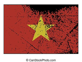 Vietnam Flag Grunged - A grunged Vietnam flag isolated on a...
