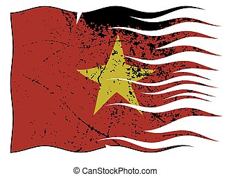 Vietnam Flag Wavy And Grunged - A wavy and grunged Vietnam...