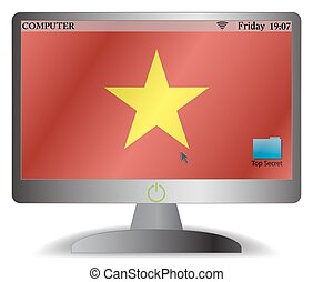 Vietnam Computer Screen With On Button - A Vietnam computer...