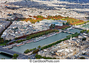 Sightseeing panorama of Paris from the top Eiffel Tower, France.