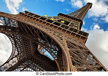 The Eiffel Tower in Paris shot against blue sky