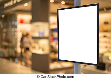 Blank wooden sign with copy space for your text message or content in modern shopping mall.