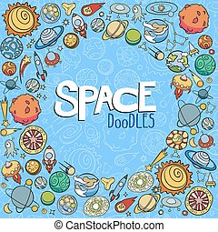 space objects doodles - hand drawn doodles of planets ans...