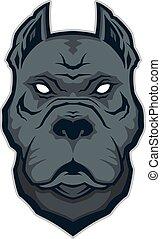 Pitbull head mascot - Clipart picture of a pitbull head...