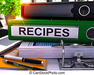 Recipes on Green Ring Binder Blurred, Toned Image - Recipes...