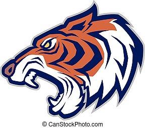 Tiger head mascot - Clipart picture of a tiger head cartoon...