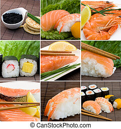 seafood collage - a collage photo of seafood, sushi, salmon...