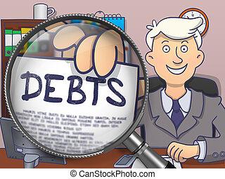 Debts through Magnifier Doodle Design - Business Man in Suit...