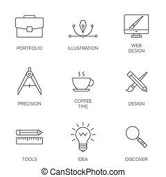 Creative design process concept Web development tools
