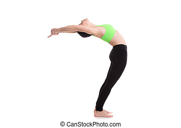 Standing Backward Bend (Ardha Chakrasana) - Sporty girl on...