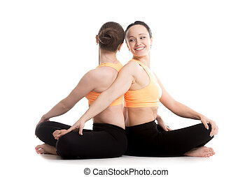 Yoga with partner, Easy Decent, Pleasant Pose, Sukhasana -...