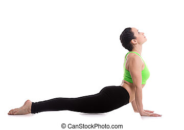 Yoga upward facing dog pose - Sporty girl doing exercises...