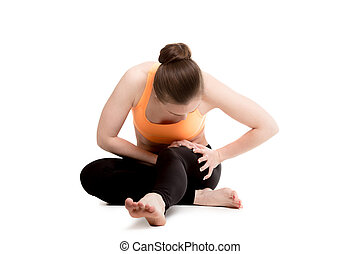 Young female athlete touching injured thigh - Young athlete...