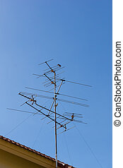 Antenna stand in the clear sky
