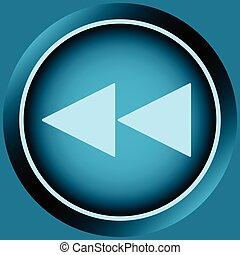 Icon blue scrolling symbol back - Button icons with a rewind...