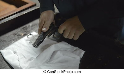 Firearm dis-assembly for cleaning and safety check of...