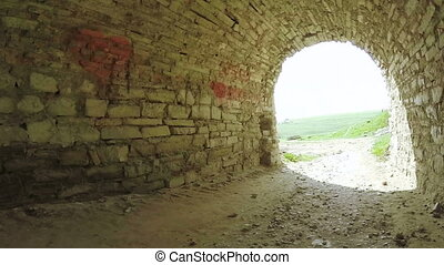 Stone tunnel ancient castle - Part of fortress wall and...