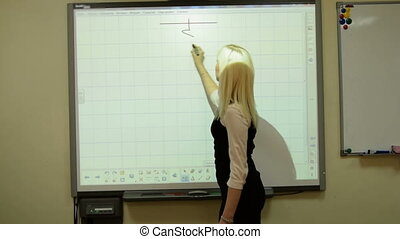 Teacher of physics using interactive whiteboard - Young...
