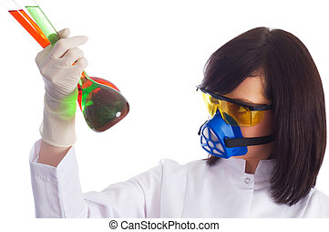 Woman with chemical tubes in the laboratory on white