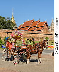 Thai tourist horse-drawn taxi - Tourist horse-drawn taxi at...