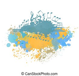 musical notes background with color ink blots. vector illustration