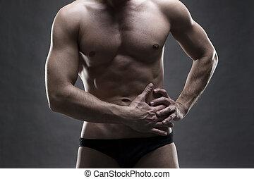 dor, em, a, esquerda, lado, de, a, Muscular, macho, body.,...