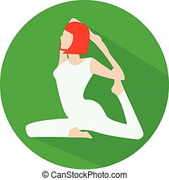 Woman doing yoga icon - Woman sitting in rajakapotasana yoga...