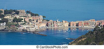 Sestri Levante, silence bay - aerial view of Sestri Levante...