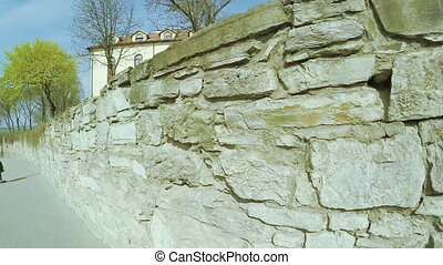 Stone wall an ancient castle - Part of fortress walls Old...