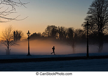A runner in the misty Phoenix park