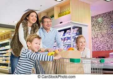 Family in store