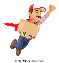 3D Super Delivery man with a box