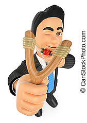3D Businessman aiming with a slingshot