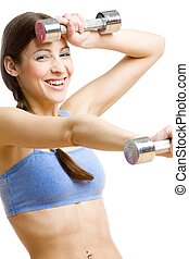 woman with dumb bells  - portrait of woman with dumb bells