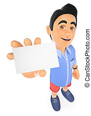 3D Young man in shorts with a blank card