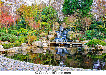 Waterfalls - Waterfall detail in Japanese garden with...