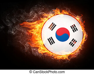 Korea Flag in Fire Computer Graphics