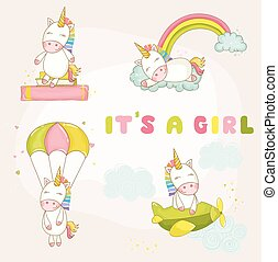 Baby Unicorn Set - Baby Shower or Arrival Card - in vector