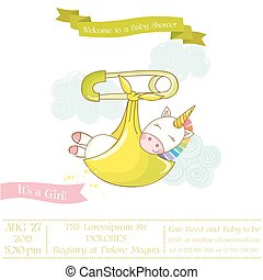 Baby Shower or Arrival Card - Baby Unicorn Girl - in vector