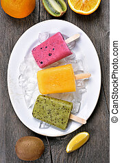 Popsicles ice cream from fruits, top view