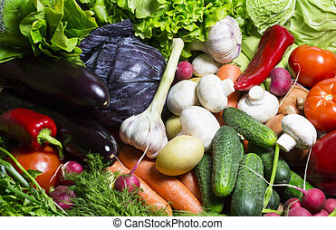 vegetable background - Background of fresh vegetables and...
