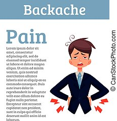 Low back pain in men, black and color cartoon