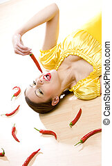 woman with chilis - portrait of woman with chilis