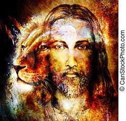 painting of Jesus with a lion, on beautiful colorful...