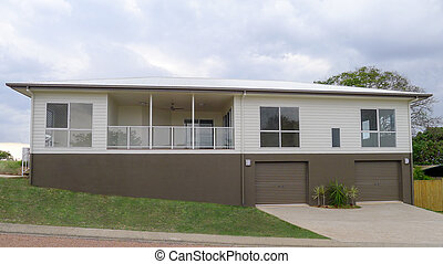 New modern house - Two storey contemporary house brown and...