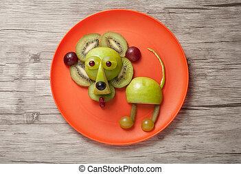 divertido, hecho, placa, león, frutas, naranja