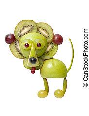 león, hecho, de, manzana, y, kiwi, en, aislado, Plano...