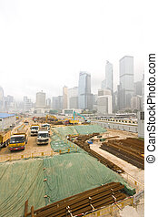 It is a wide shot of construction site