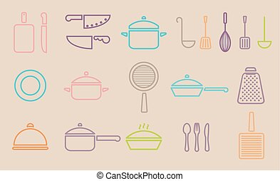 kitchenware line icons - retro kitchenware line icon set...